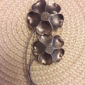 Pewter tone vintage flower brooch
